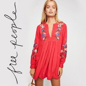 Free People Red Embroidered Combo Dress Size XS